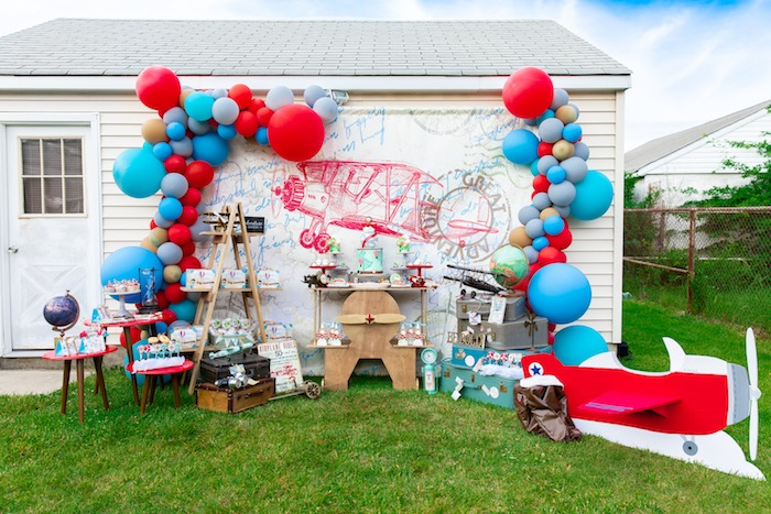 Vintage Modern Aviator Birthday Party on Kara's Party Ideas | KarasPartyIdeas.com (38)