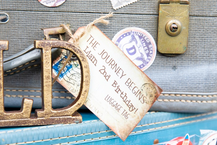 Vintage Suitcase Tag from a Vintage Modern Aviator Birthday Party on Kara's Party Ideas | KarasPartyIdeas.com (37)