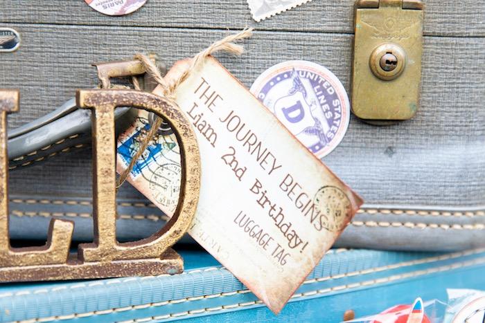Vintage Suitcase Tag from a Vintage Modern Aviator Birthday Party on Kara's Party Ideas | KarasPartyIdeas.com (37)