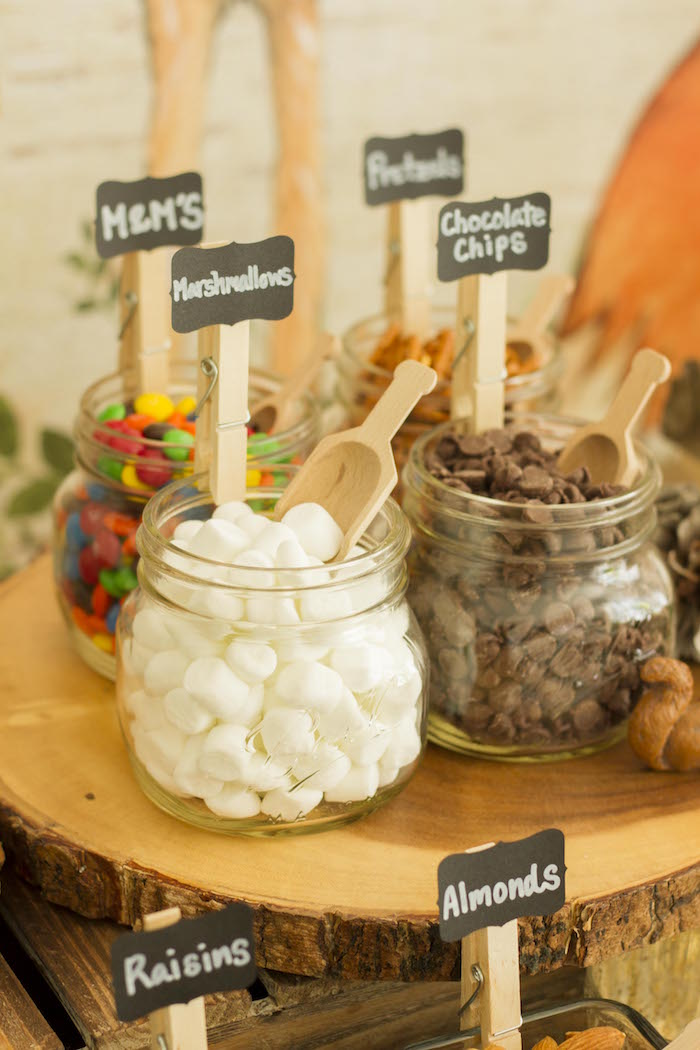 Woodland Trail Mix Bar from a Vintage Woodland Baby Shower on Kara's Party Ideas | KarasPartyIdeas.com (21)