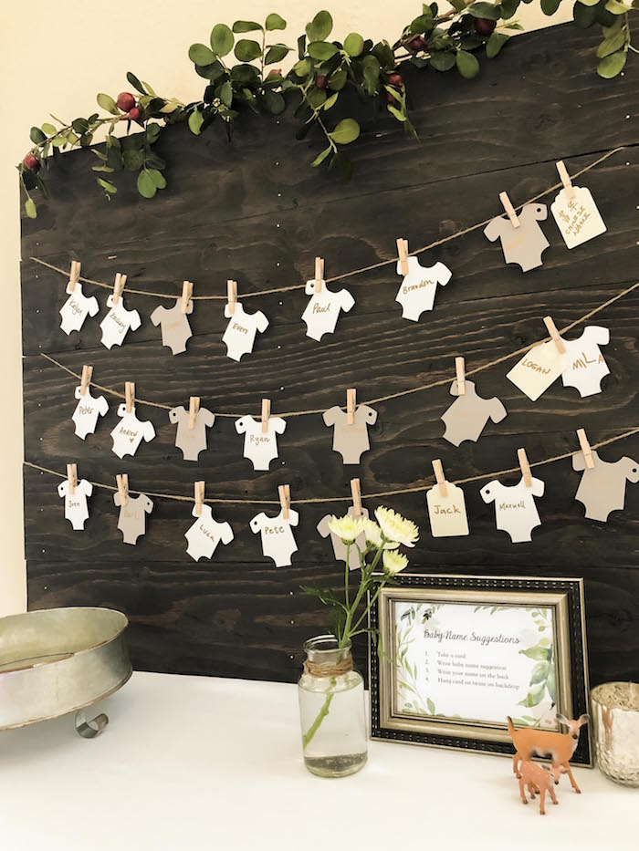 Onesie Baby Suggestion Garland from a Vintage Woodland Baby Shower on Kara's Party Ideas | KarasPartyIdeas.com (17)