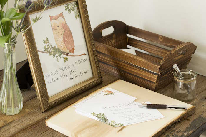 Share Your Wisdom + Owl Note Table from a Vintage Woodland Baby Shower on Kara's Party Ideas | KarasPartyIdeas.com (12)