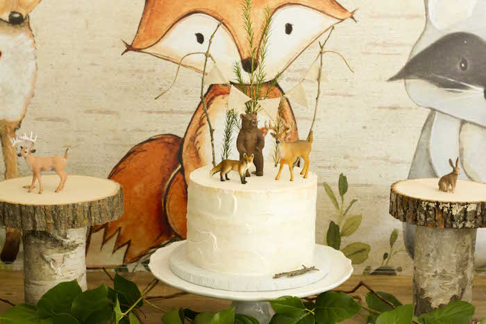 Semi-naked Woodland Cake from a Vintage Woodland Baby Shower on Kara's Party Ideas | KarasPartyIdeas.com (30)