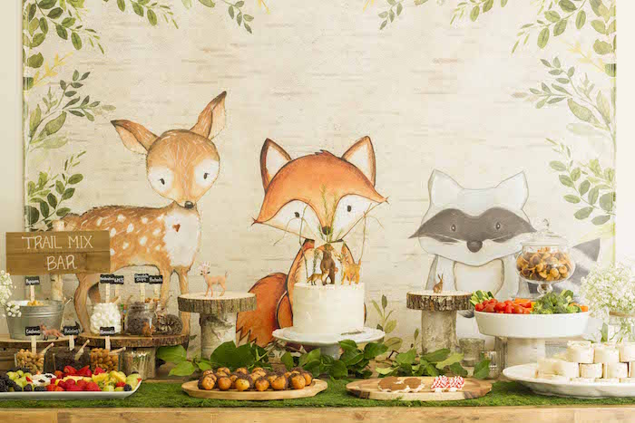 Woodland Dessert Table from a Vintage Woodland Baby Shower on Kara's Party Ideas | KarasPartyIdeas.com (29)