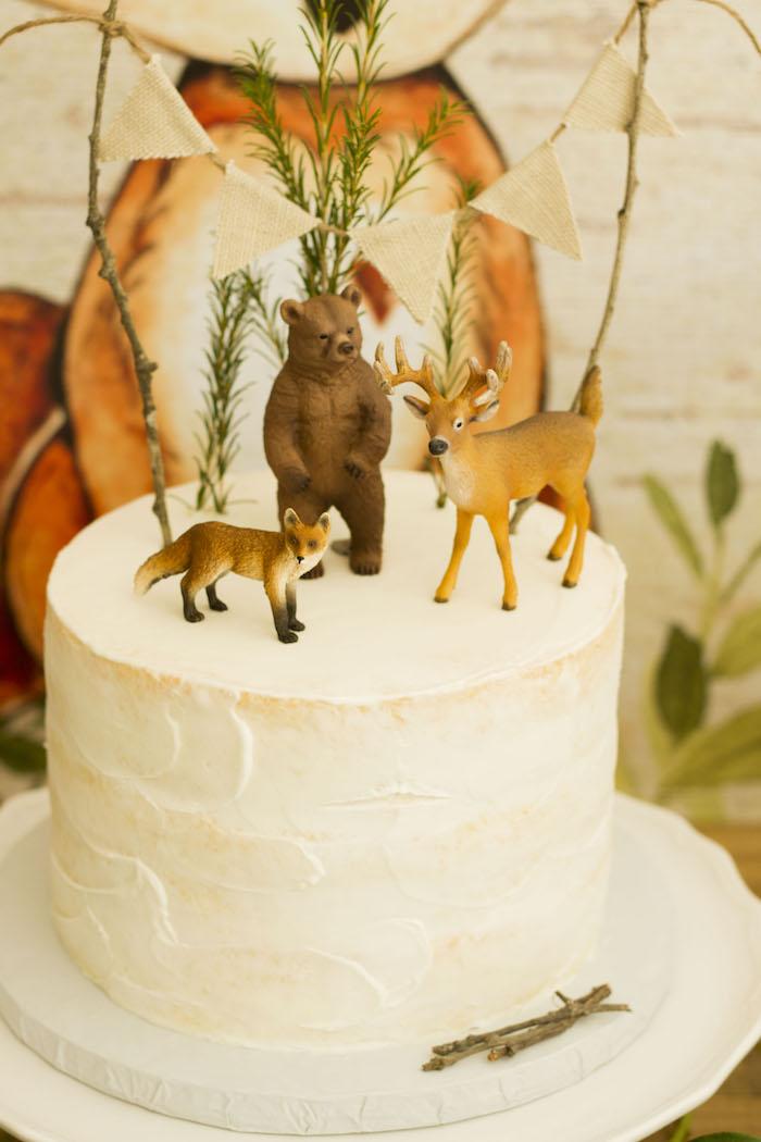 Woodland Animal Cake from a Vintage Woodland Baby Shower on Kara's Party Ideas | KarasPartyIdeas.com (28)