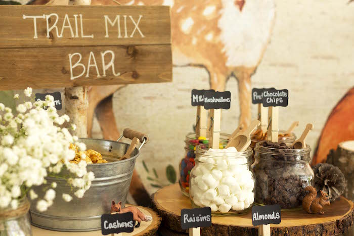Trail Mix Bar from a Vintage Woodland Baby Shower on Kara's Party Ideas | KarasPartyIdeas.com (22)