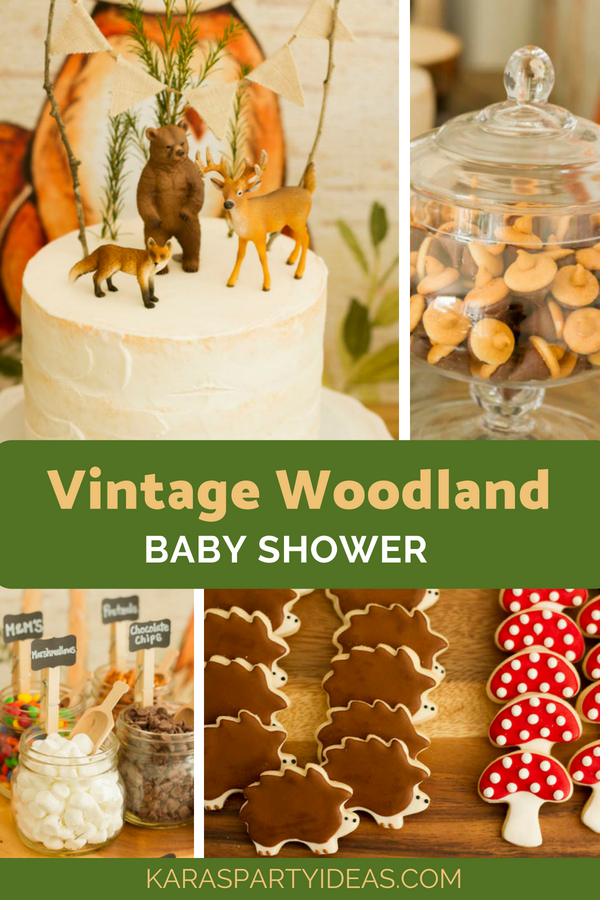Vintage Woodland Baby Shower via Kara's Party Ideas - KarasPartyIdeas.com