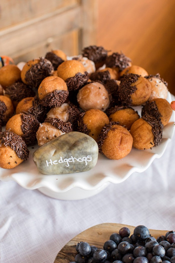 Hedgehog Doughnut Holes from a Woodland Adventure Birthday Party on Kara's Party Ideas | KarasPartyIdeas.com (12)