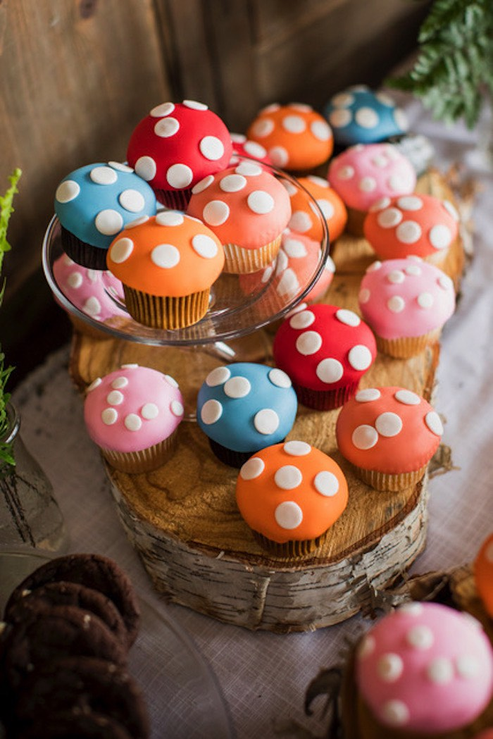 Colorful Mushroom Cupcakes from a Woodland Adventure Birthday Party on Kara's Party Ideas | KarasPartyIdeas.com (9)