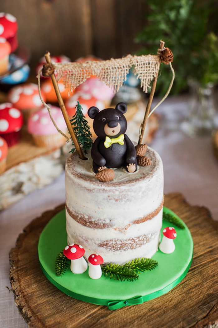 Woodland Cake from a Woodland Adventure Birthday Party on Kara's Party Ideas | KarasPartyIdeas.com (7)