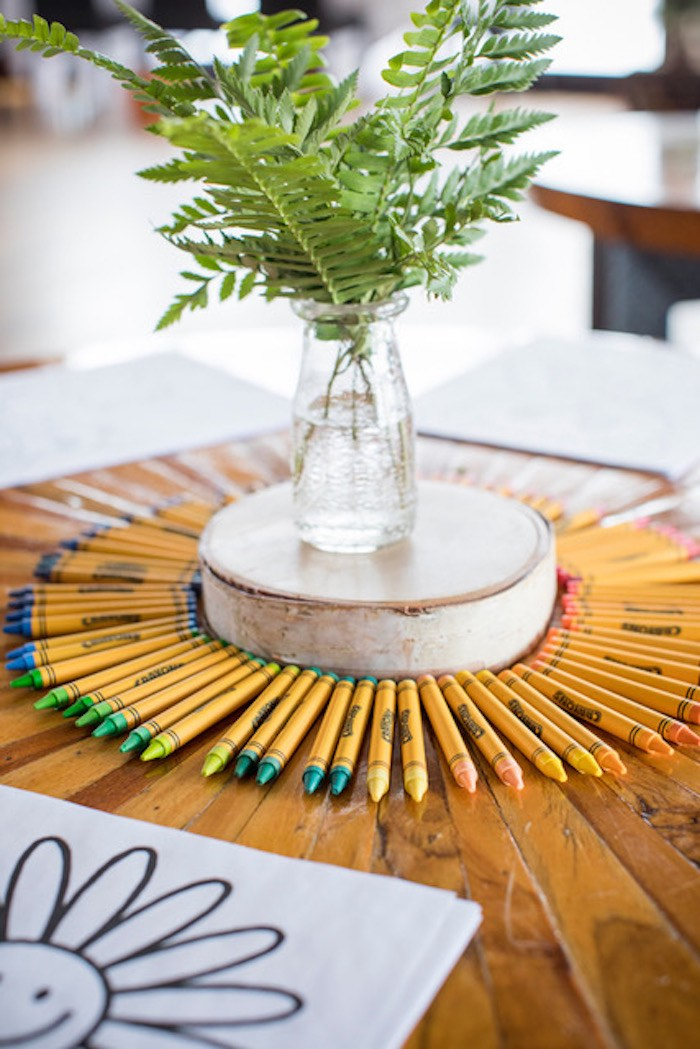 Green Blooms & Crayons Centerpiece from a Woodland Adventure Birthday Party on Kara's Party Ideas | KarasPartyIdeas.com (6)