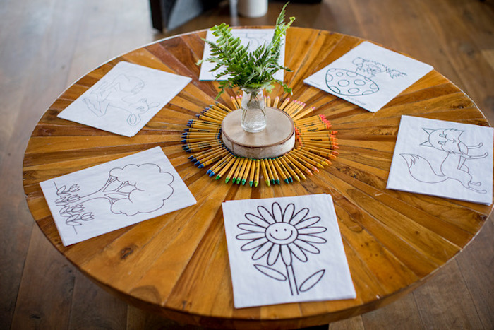 Coloring Station from a Woodland Adventure Birthday Party on Kara's Party Ideas | KarasPartyIdeas.com (5)