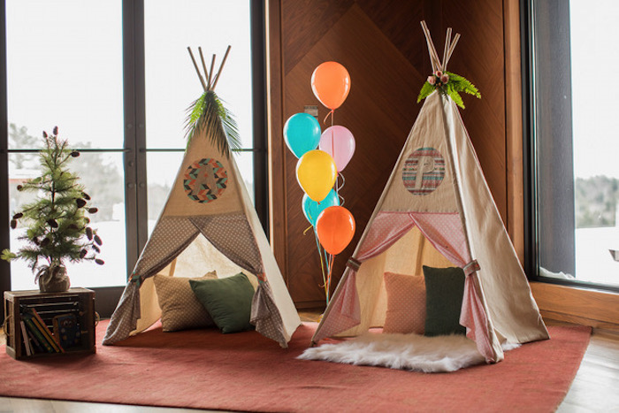 Tee Pee Reading Lounge from a Woodland Adventure Birthday Party on Kara's Party Ideas | KarasPartyIdeas.com (3)