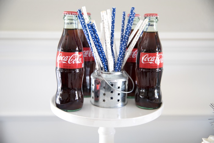 Soda Pop Bottles + Star Straws from a #merica July 4th Party via Kara's Party Ideas | KarasPartyIdeas.com (14)