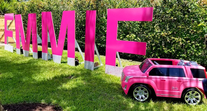 Pink Glam Letters + Barbie Car from a Barbie Fashionista Birthday Party on Kara's Party Ideas | KarasPartyIdeas.com (21)