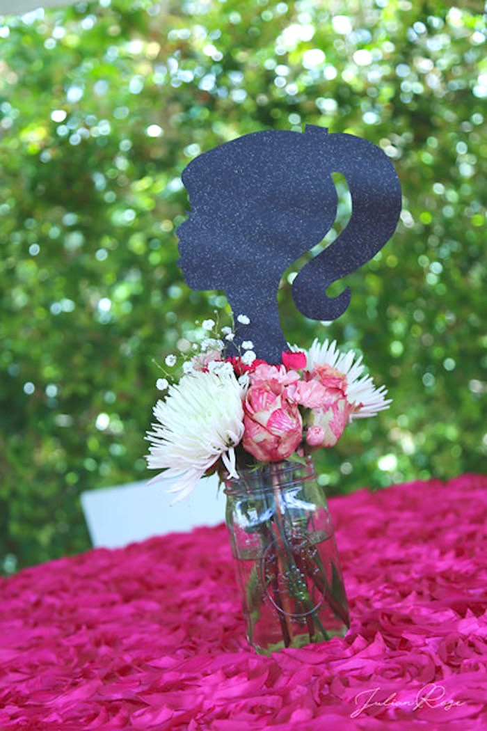 Barbie Silhouette Floral Arrangement from a Barbie Fashionista Birthday Party on Kara's Party Ideas | KarasPartyIdeas.com (20)