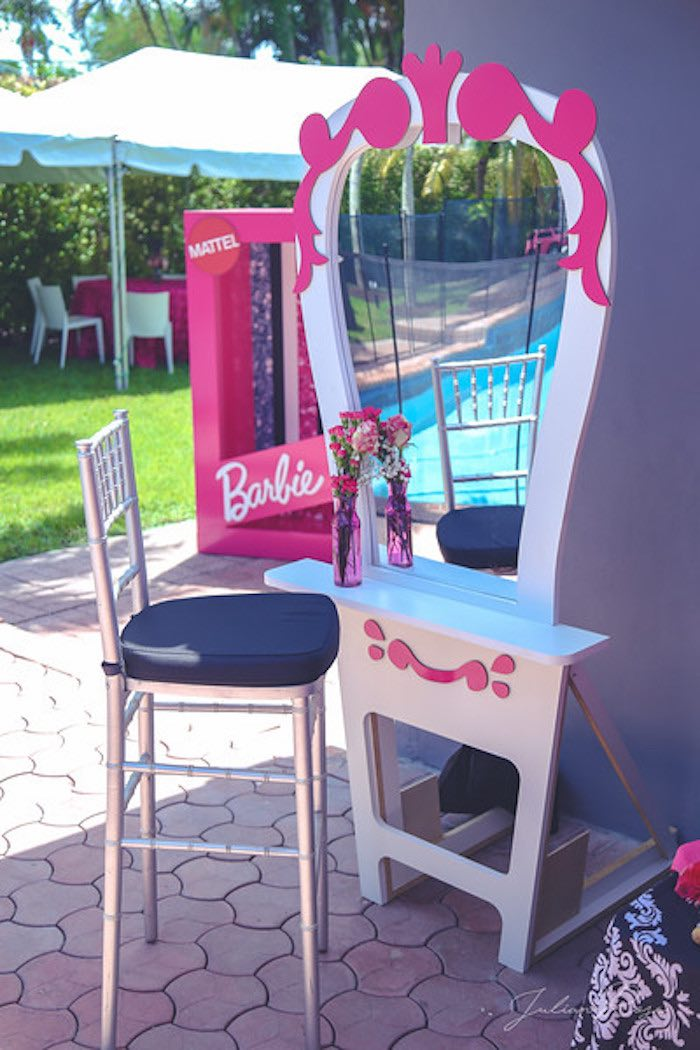 Barbie Dressing Table from a Barbie Fashionista Birthday Party on Kara's Party Ideas | KarasPartyIdeas.com (17)