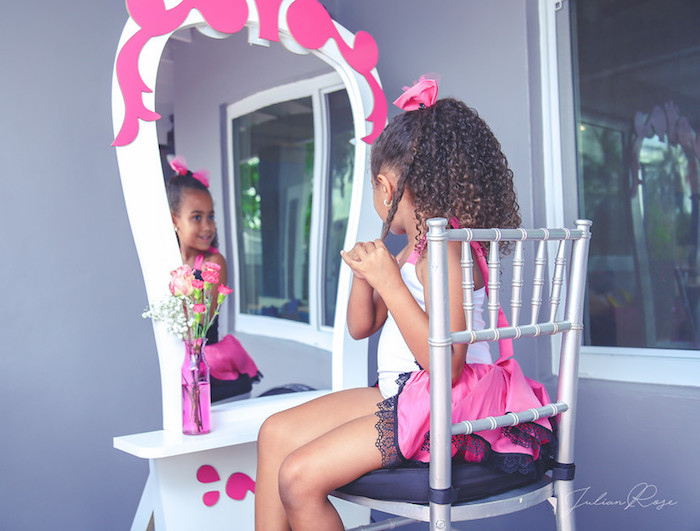 Barbie Dressing Table from a Barbie Fashionista Birthday Party on Kara's Party Ideas | KarasPartyIdeas.com (14)