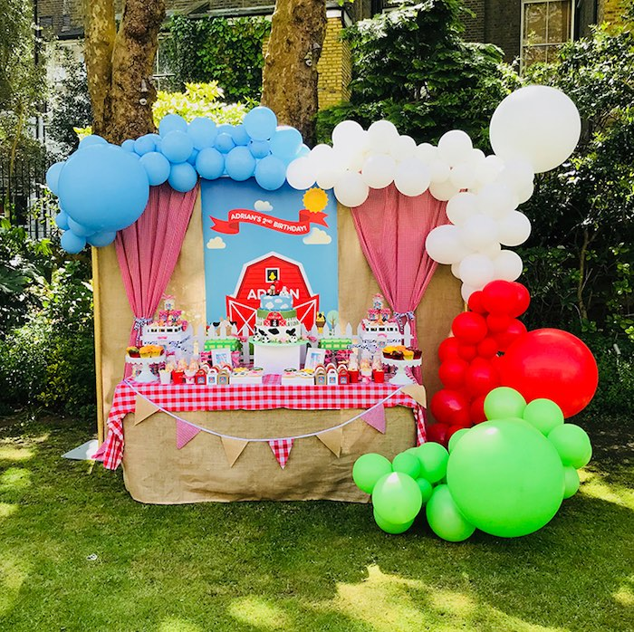 Barnyard Farm Birthday Party Table on Kara's Party Ideas | KarasPartyIdeas.com (14)