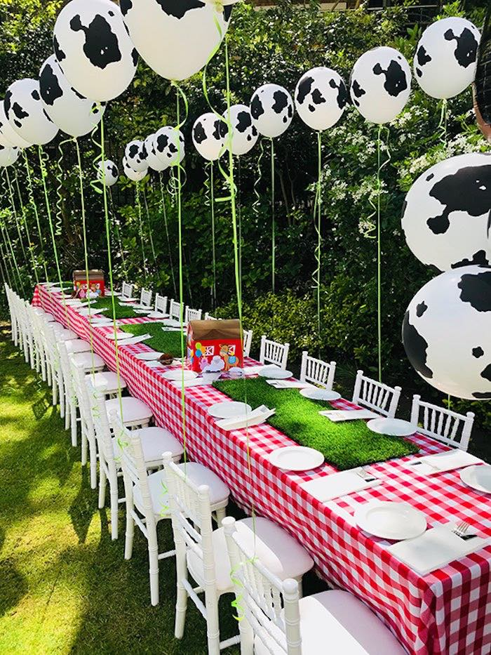 Farm Party Table from a Barnyard Farm Birthday Party on Kara's Party Ideas | KarasPartyIdeas.com (12)