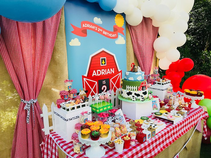 Farm Themed Dessert Table from a Barnyard Farm Birthday Party on Kara's Party Ideas | KarasPartyIdeas.com (10)