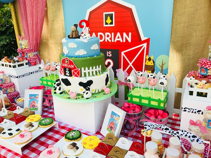 Barnyard Dessert Table from a Barnyard Farm Birthday Party on Kara's Party Ideas | KarasPartyIdeas.com (9)