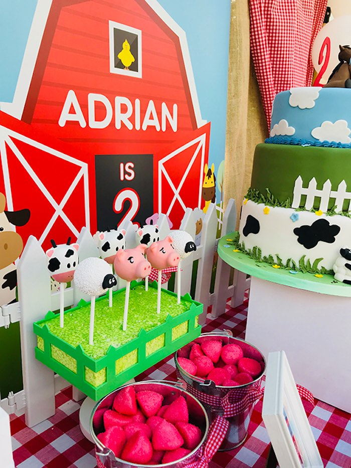 Farm Animal Cake Pops & Berry Buckets from a Barnyard Farm Birthday Party on Kara's Party Ideas | KarasPartyIdeas.com (8)