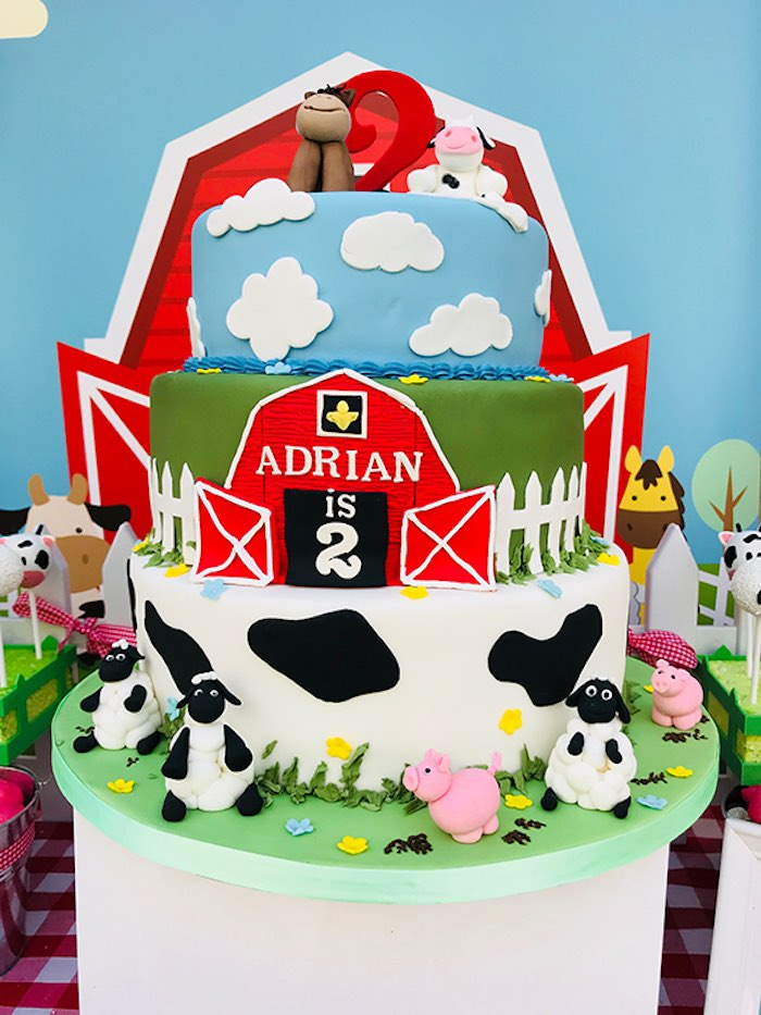 Barnyard Birthday Cake from a Barnyard Farm Birthday Party on Kara's Party Ideas | KarasPartyIdeas.com (6)