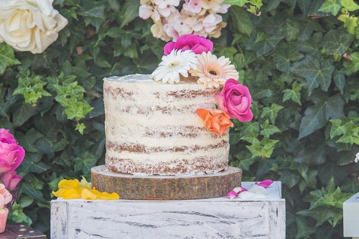 Boho Flower Semi-naked Cake from a Bohemian Baby Shower on Kara's Party Ideas | KarasPartyIdeas.com (12)
