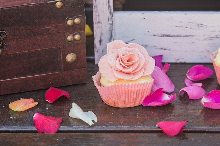 Rose Cupcake from a Bohemian Baby Shower on Kara's Party Ideas | KarasPartyIdeas.com (11)