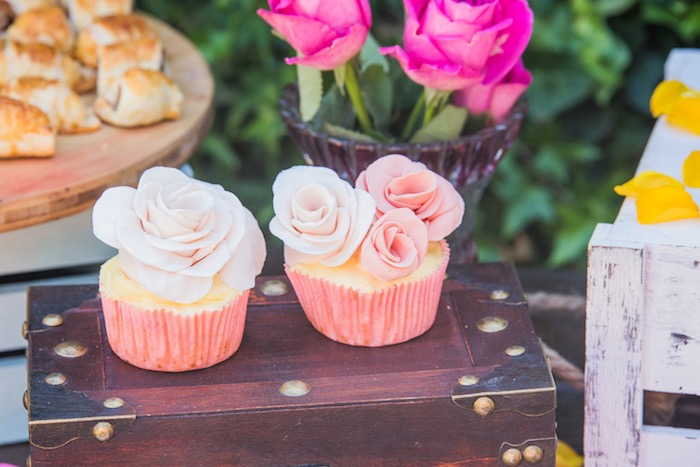 Rose Cupcakes from a Bohemian Baby Shower on Kara's Party Ideas | KarasPartyIdeas.com (10)