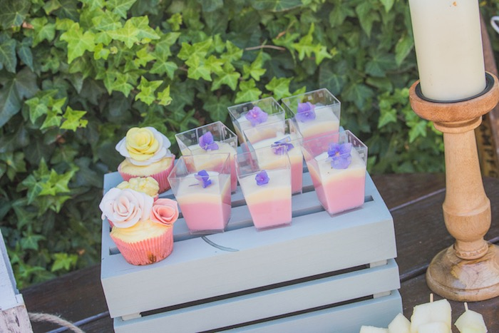 Flower Cupcakes + Dessert Cups from a Bohemian Baby Shower on Kara's Party Ideas | KarasPartyIdeas.com (8)