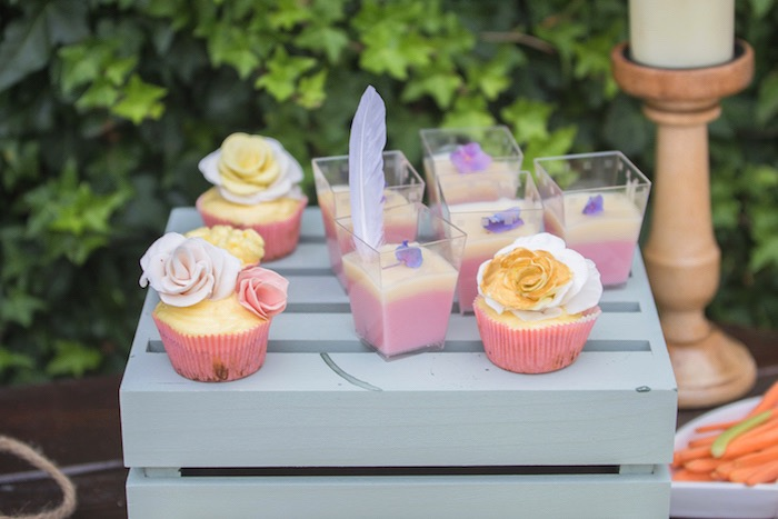 Flower Cupcakes + Dessert Cups from a Bohemian Baby Shower on Kara's Party Ideas | KarasPartyIdeas.com (5)