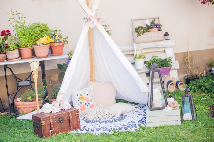 Boho Tent Lounge from a Bohemian Baby Shower on Kara's Party Ideas | KarasPartyIdeas.com (21)