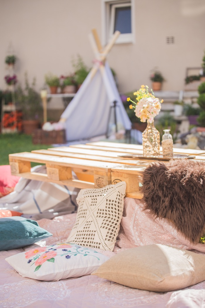 Pallet Board Guest Table with Pillow Seating from a Bohemian Baby Shower on Kara's Party Ideas | KarasPartyIdeas.com (19)