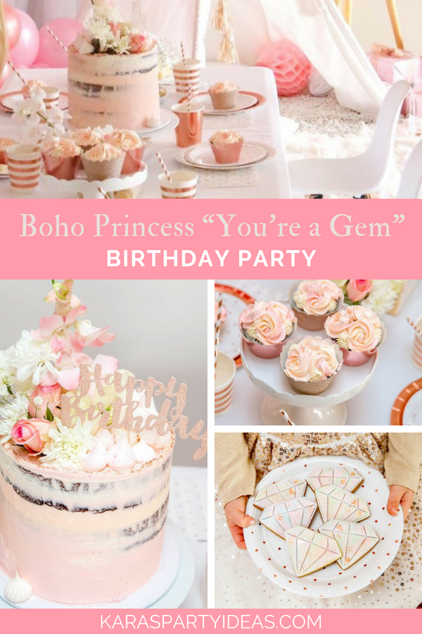 """Boho Princess """"You're a Gem"""" Birthday Party via Kara's Party Ideas - KarasPartyIdeas.com"""