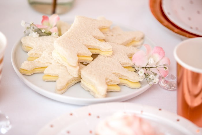 "Crown Shaped Sandwiches from a Boho Princess ""You're a Gem"" Birthday Party on Kara's Party Ideas 