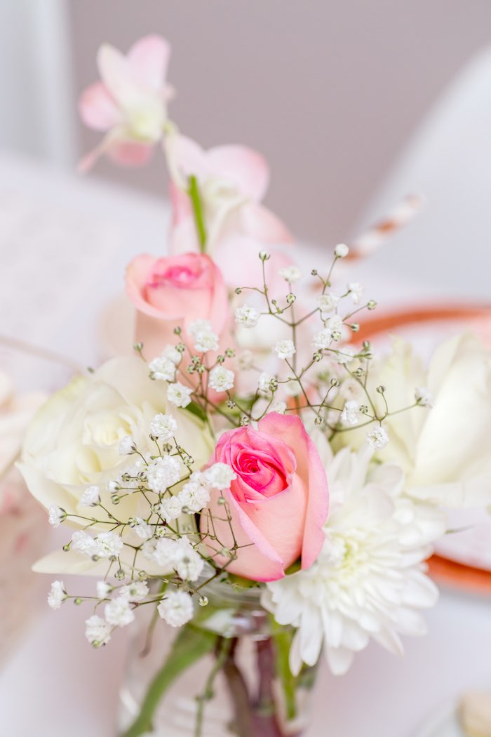 "Pink + White Florals from a Boho Princess ""You're a Gem"" Birthday Party on Kara's Party Ideas 