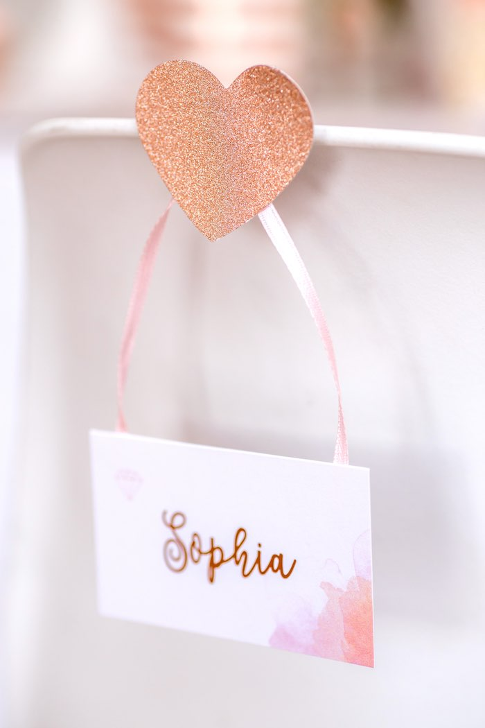 """Glitter Heart Calligraphy Place Card from a Boho Princess """"You're a Gem"""" Birthday Party on Kara's Party Ideas 