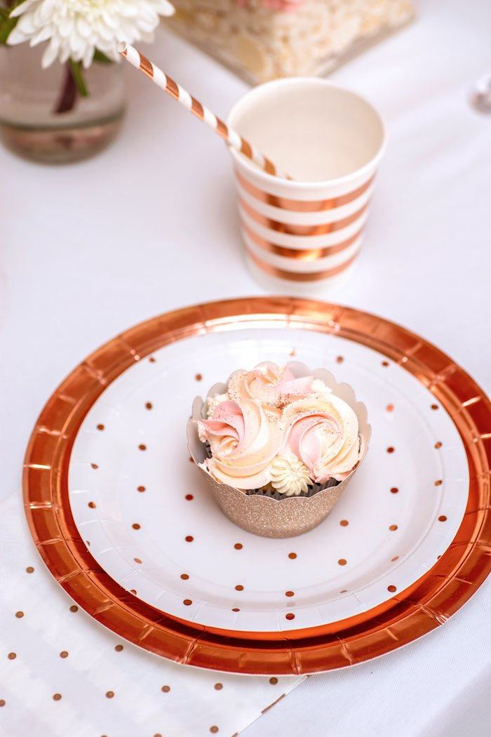 "Gold Polka Dot + Striped Place Setting + Partyware from a Boho Princess ""You're a Gem"" Birthday Party on Kara's Party Ideas 