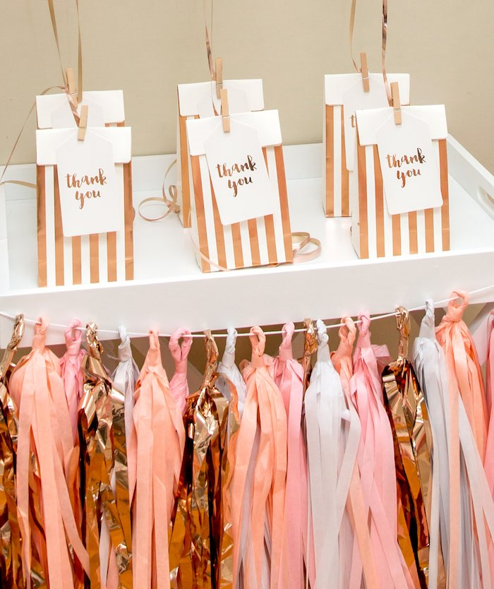 "Gold Striped Gift Bags from a Boho Boho Princess ""You're a Gem"" Birthday Party on Kara's Party Ideas 
