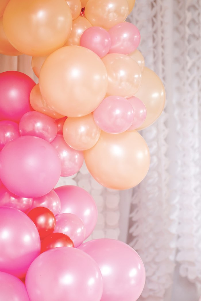 "Pink + Orange Ombre Balloon Garland from a Boho Princess ""You're a Gem"" Birthday Party on Kara's Party Ideas 