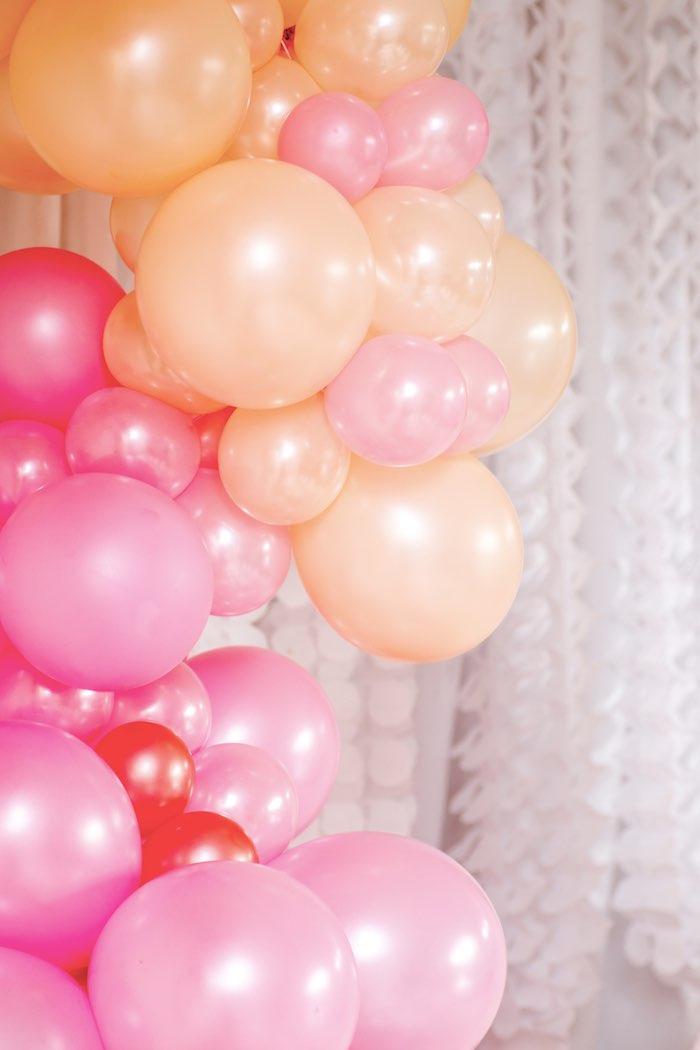 "Pink + Orange Ombre Balloon Garland from a Boho Princess ""You're a Gem"" Birthday Party on Kara's Party Ideas | KarasPartyIdeas.com (8)"