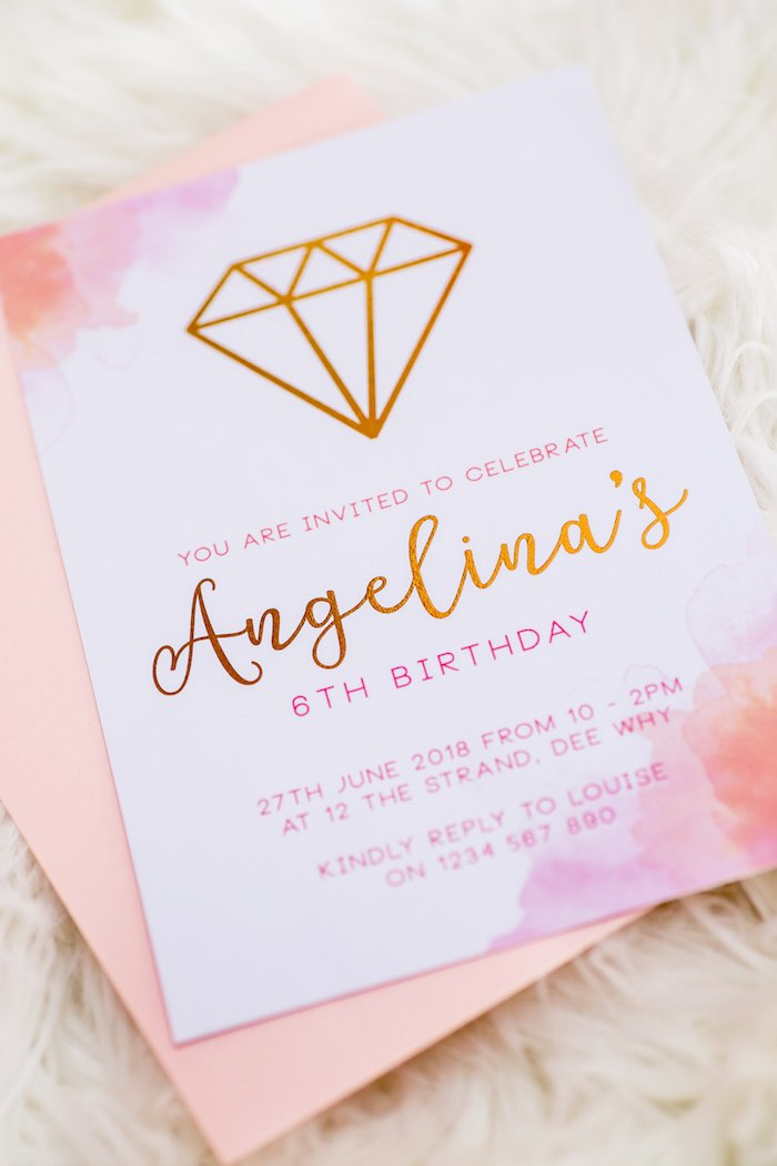 "Gem-inspired Party Invite from a Boho Princess ""You're a Gem"" Birthday Party on Kara's Party Ideas | KarasPartyIdeas.com (7)"