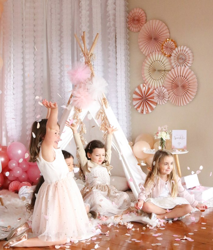 "Confetti Throwing from a Boho Princess ""You're a Gem"" Birthday Party on Kara's Party Ideas 