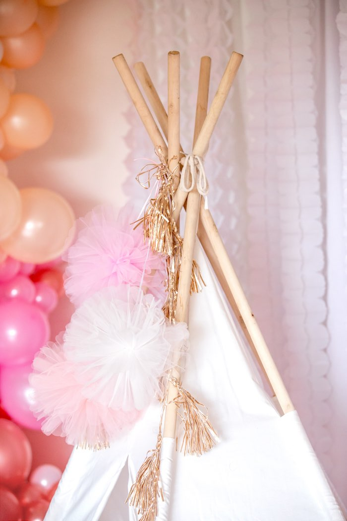 "Tulle Pom & Foil Tassel Teepee Bunting from a Boho Princess ""You're a Gem"" Birthday Party on Kara's Party Ideas 