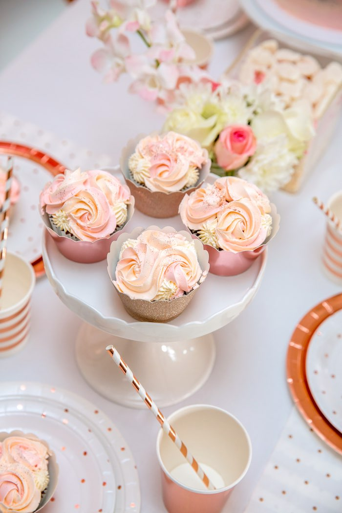 "Rose Gold Cupcakes from a Boho Princess ""You're a Gem"" Birthday Party on Kara's Party Ideas 