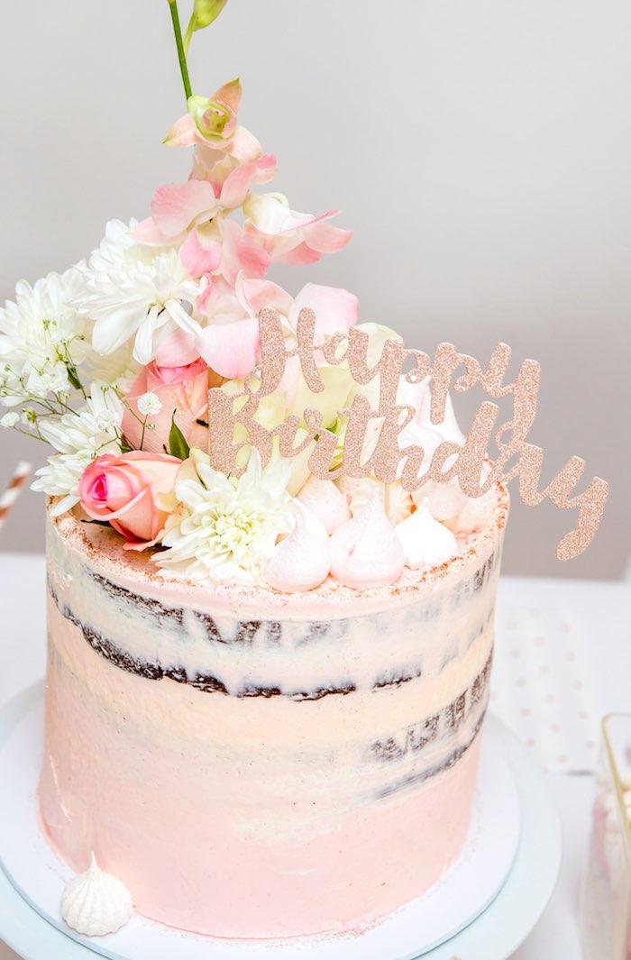 "Floral Rose Boho Birthday Cake from a Boho Princess ""You're a Gem"" Birthday Party on Kara's Party Ideas | KarasPartyIdeas.com (18)"