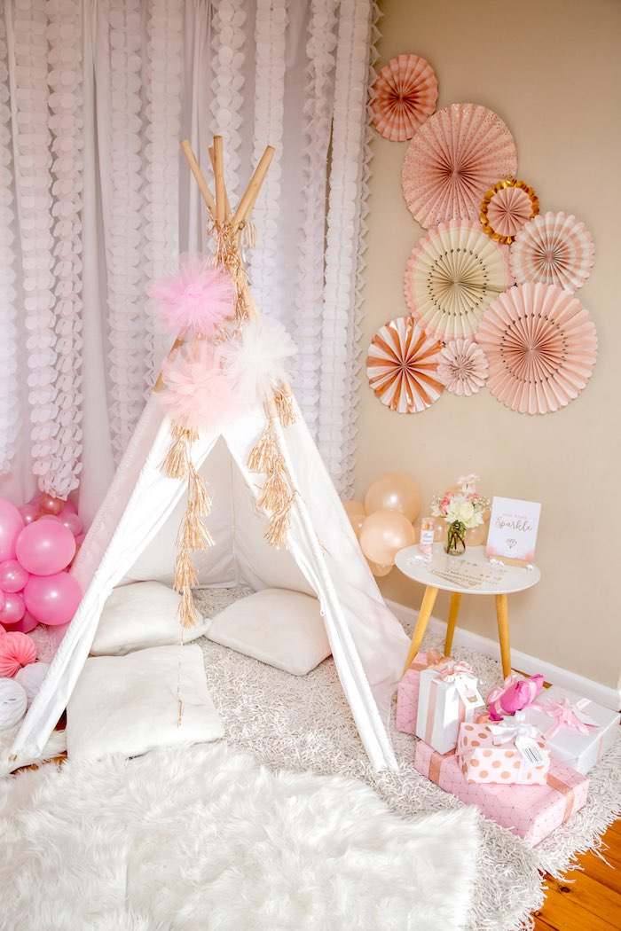 """Glam Teepee + Gift Lounge from a Boho Princess """"You're a Gem"""" Birthday Party on Kara's Party Ideas 