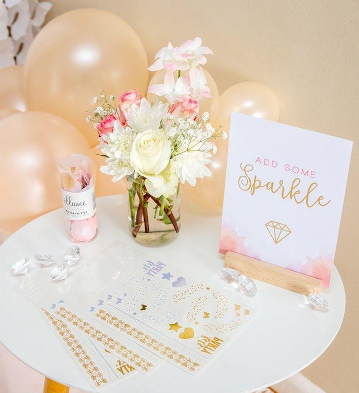 """Add Some Sparkle"" Table from a Boho Princess ""You're a Gem"" Birthday Party on Kara's Party Ideas | KarasPartyIdeas.com (16)"